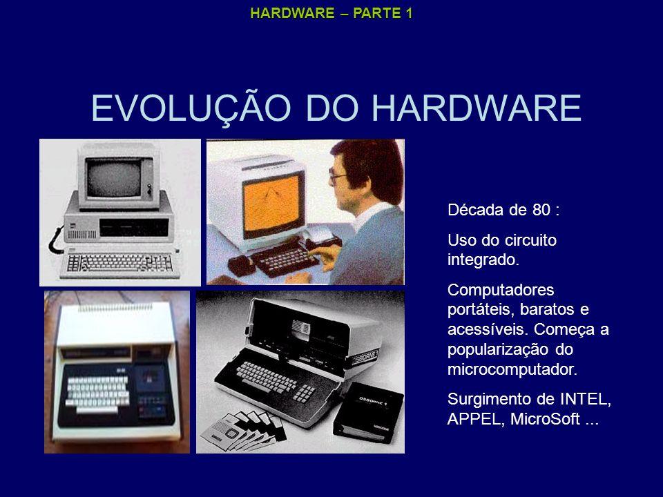 HARDWARE – PARTE 1 EVOLUÇÃO DO HARDWARE Década de 80 : Uso do circuito integrado. Computadores portáteis, baratos e acessíveis. Começa a popularização