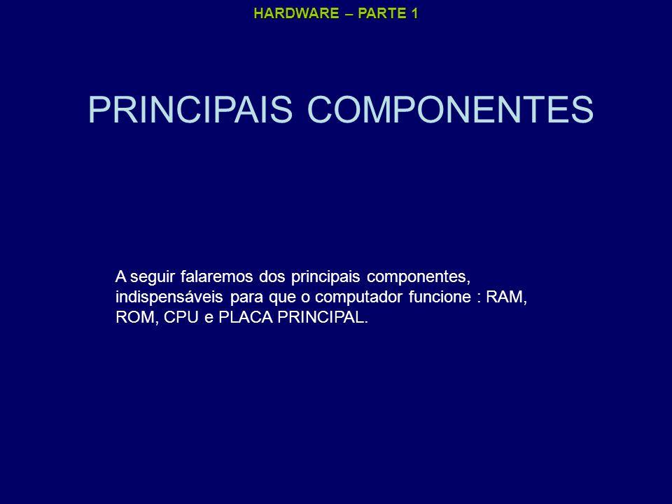 HARDWARE – PARTE 1 PRINCIPAIS COMPONENTES A seguir falaremos dos principais componentes, indispensáveis para que o computador funcione : RAM, ROM, CPU