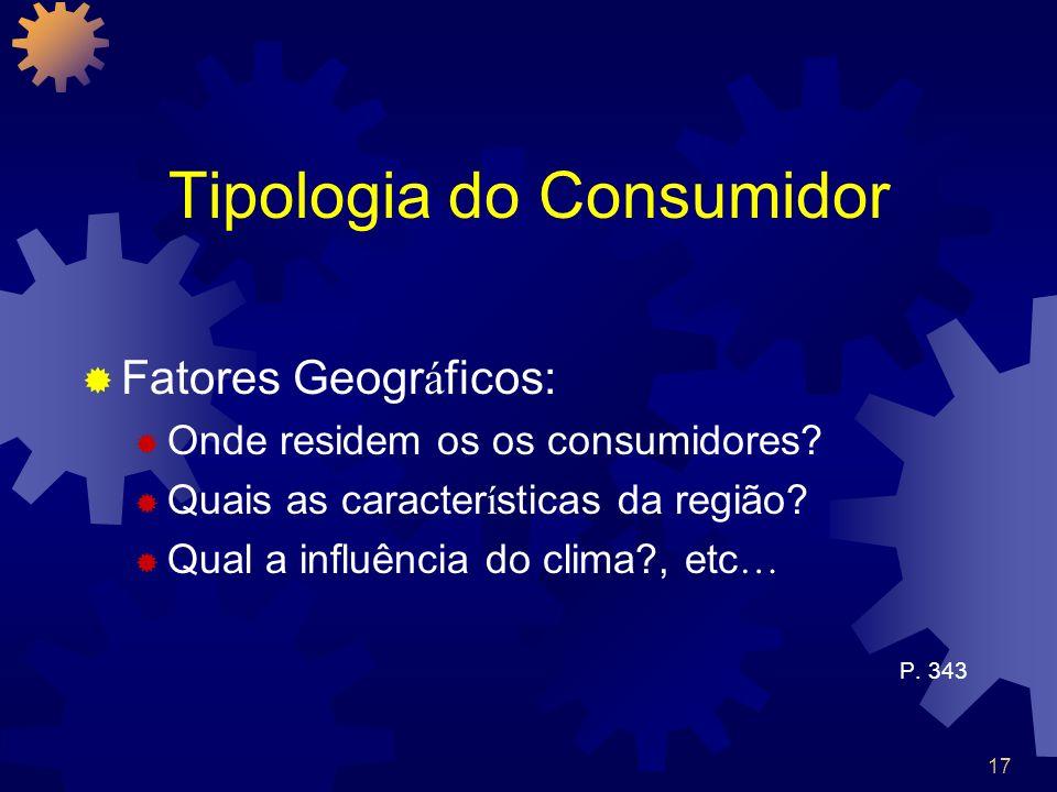 17 Tipologia do Consumidor Fatores Geogr á ficos: Onde residem os os consumidores? Quais as caracter í sticas da região? Qual a influência do clima?,
