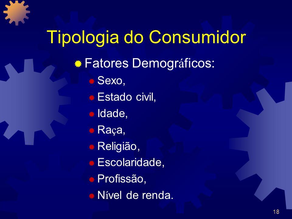 18 Tipologia do Consumidor Fatores Demogr á ficos: Sexo, Estado civil, Idade, Ra ç a, Religião, Escolaridade, Profissão, N í vel de renda.