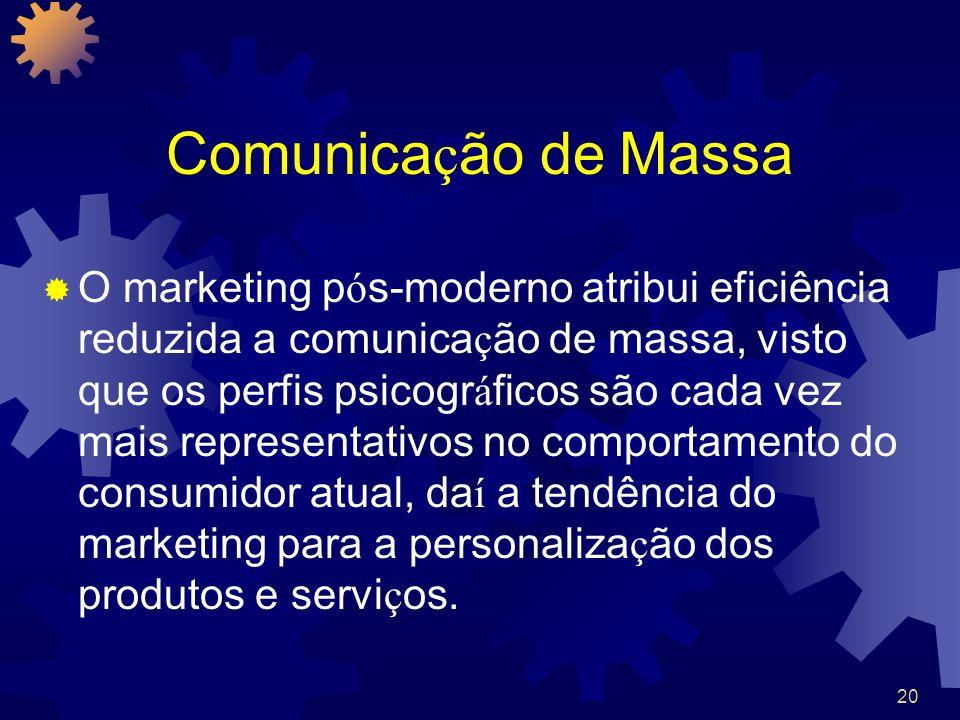 20 Comunica ç ão de Massa O marketing p ó s-moderno atribui eficiência reduzida a comunica ç ão de massa, visto que os perfis psicogr á ficos são cada