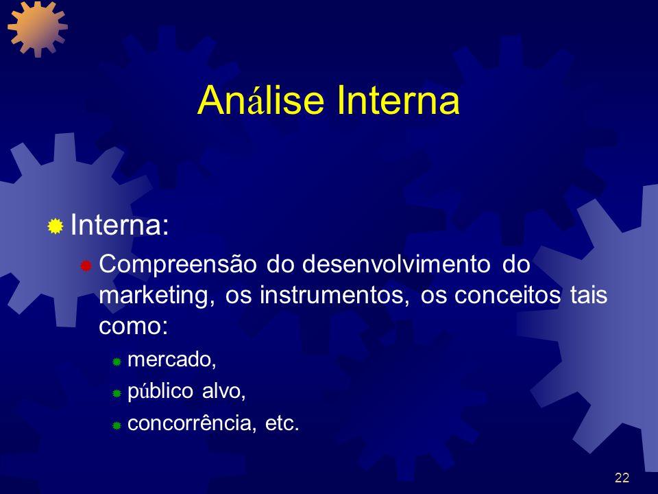 22 An á lise Interna Interna: Compreensão do desenvolvimento do marketing, os instrumentos, os conceitos tais como: mercado, p ú blico alvo, concorrên