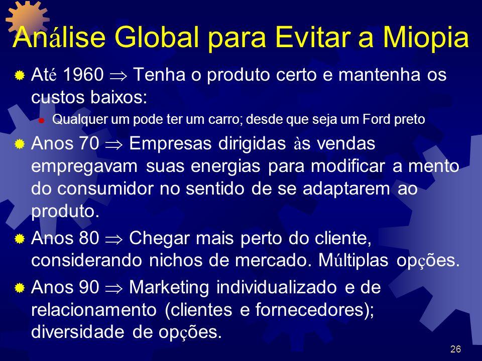 26 An á lise Global para Evitar a Miopia At é 1960 Tenha o produto certo e mantenha os custos baixos: Qualquer um pode ter um carro; desde que seja um
