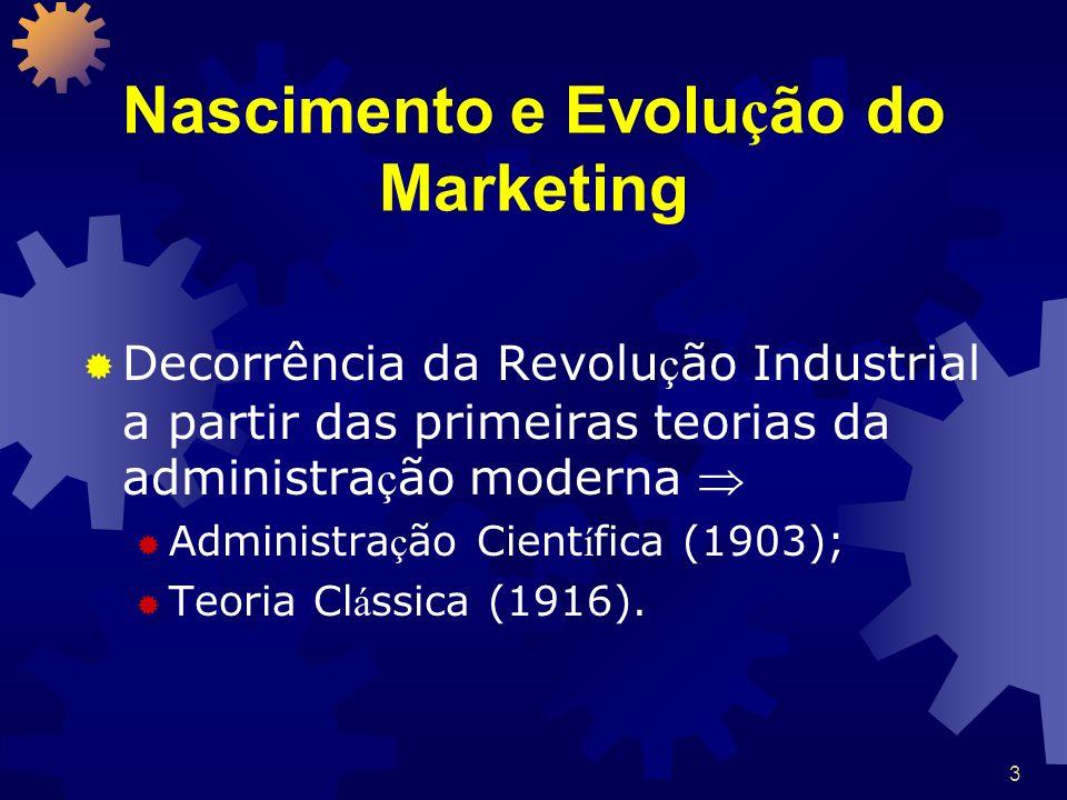 3 Nascimento e Evolu ç ão do Marketing Decorrência da Revolu ç ão Industrial a partir das primeiras teorias da administra ç ão moderna Administra ç ão