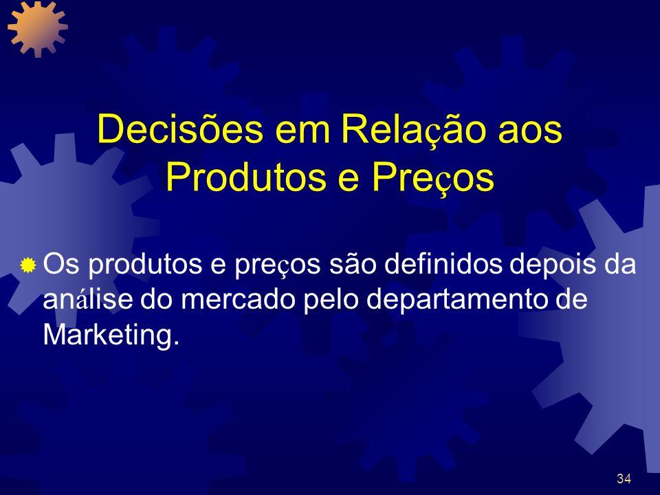 34 Decisões em Rela ç ão aos Produtos e Pre ç os Os produtos e pre ç os são definidos depois da an á lise do mercado pelo departamento de Marketing.