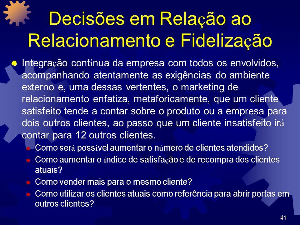 41 Decisões em Rela ç ão ao Relacionamento e Fideliza ç ão Integra ç ão cont í nua da empresa com todos os envolvidos, acompanhando atentamente as exi