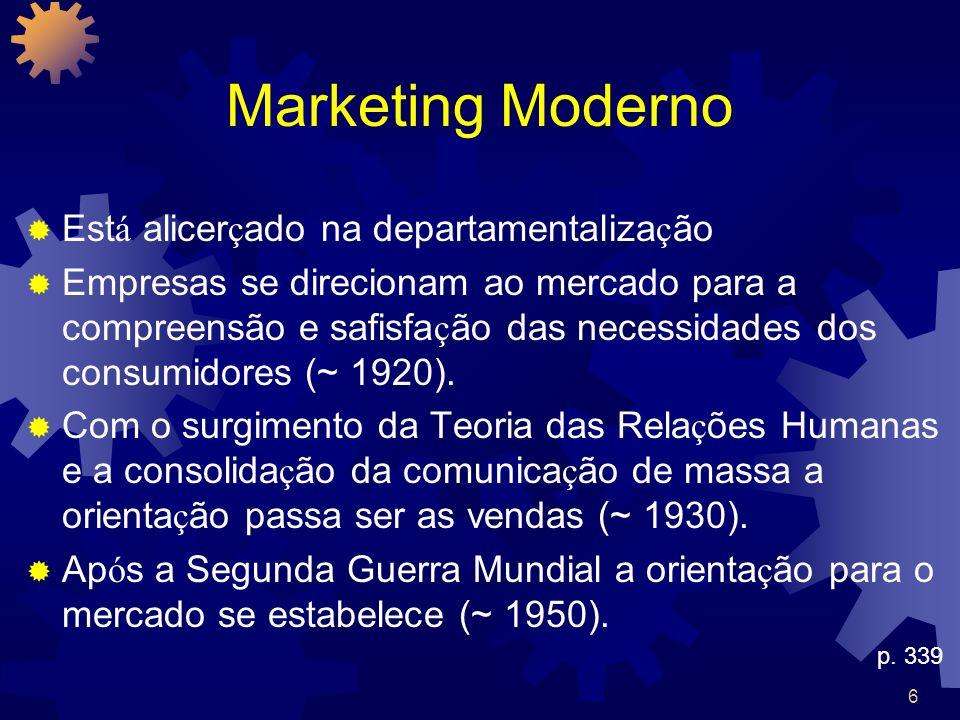 6 Marketing Moderno Est á alicer ç ado na departamentaliza ç ão Empresas se direcionam ao mercado para a compreensão e safisfa ç ão das necessidades d