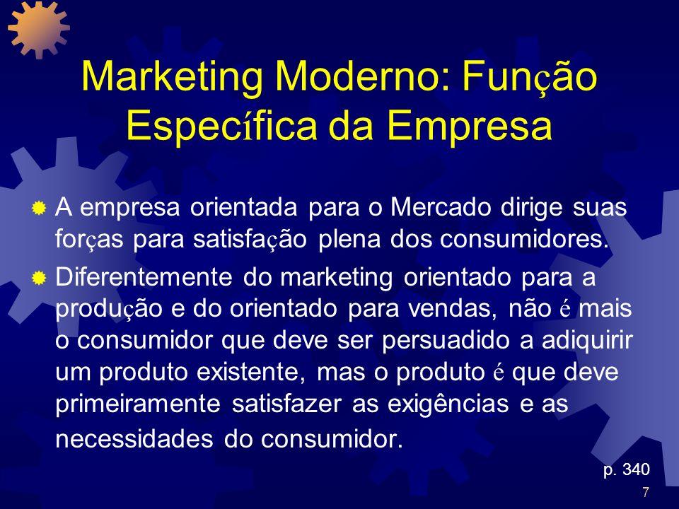 7 Marketing Moderno: Fun ç ão Espec í fica da Empresa A empresa orientada para o Mercado dirige suas for ç as para satisfa ç ão plena dos consumidores