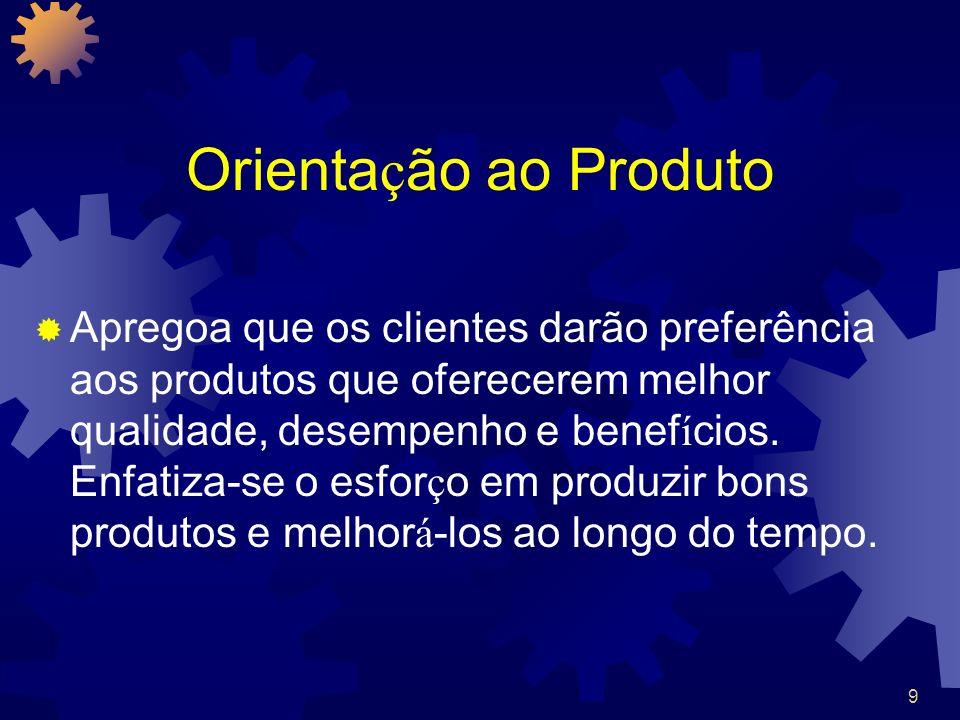 9 Orienta ç ão ao Produto Apregoa que os clientes darão preferência aos produtos que oferecerem melhor qualidade, desempenho e benef í cios. Enfatiza-