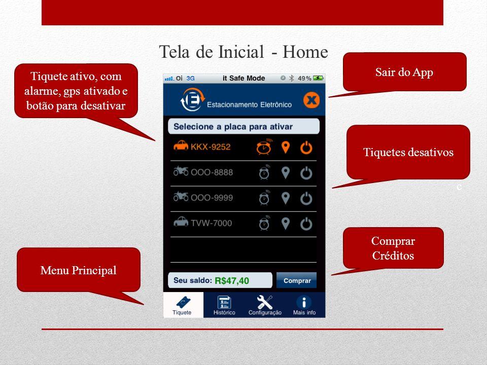 Tela de Inicial - Home Tiquete ativo, com alarme, gps ativado e botão para desativar Menu Principal Sair do App Tiquetes desativos Comprar Créditos c