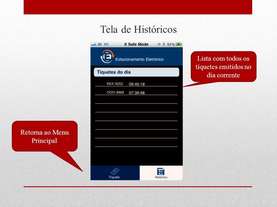 Tela de Históricos Lista com todos os tíquetes emitidos no dia corrente Retorna ao Menu Principal