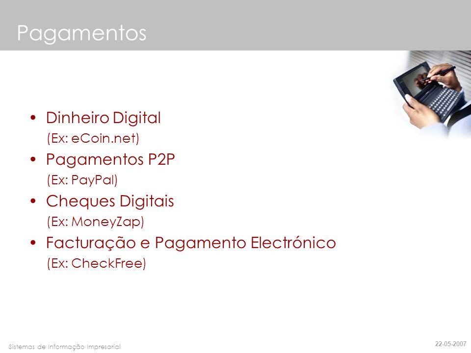 Faro, 10 de Março de 2007Sistemas de Informação Impresarial Dinheiro Digital (Ex: eCoin.net) Pagamentos P2P (Ex: PayPal) Cheques Digitais (Ex: MoneyZa