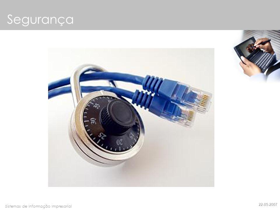 Faro, 10 de Março de 2007Sistemas de Informação Impresarial Requisitos de Segurança Confidencialidade Integridade Autenticação Não-Repúdio Disponibilidade Controlo de Acessos 22-05-2007