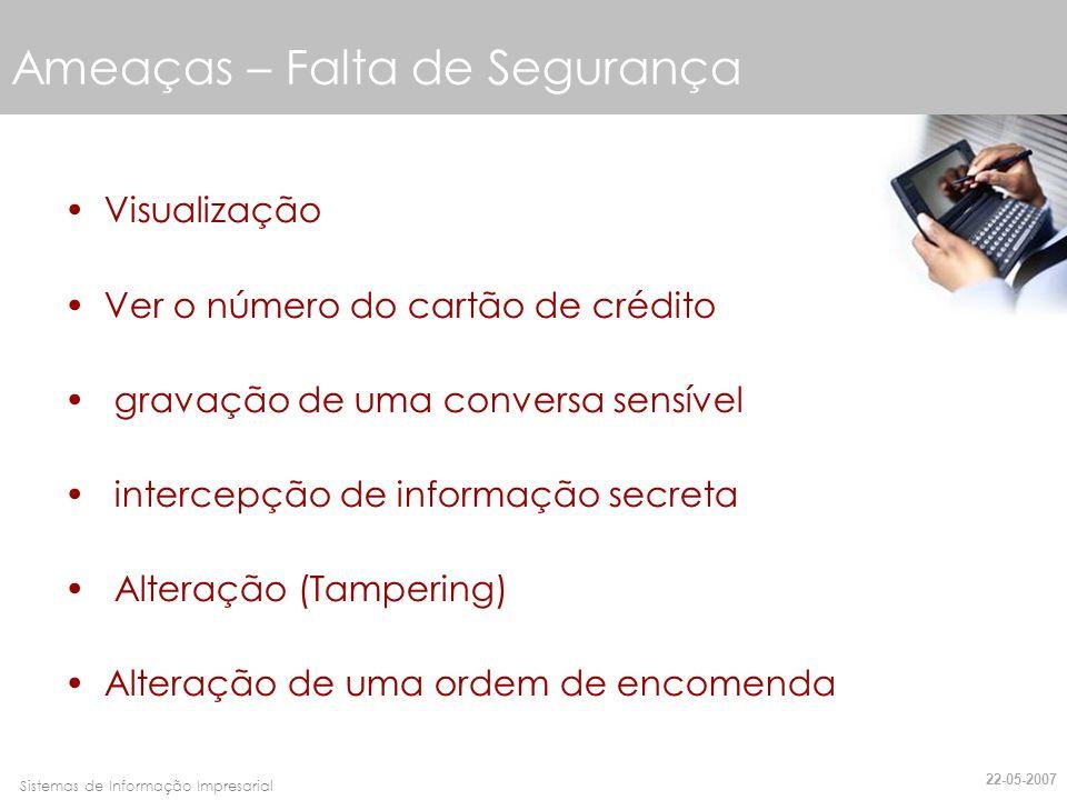 Faro, 10 de Março de 2007Sistemas de Informação Impresarial Ameaças- Falta de Segurança Personificação (Impersonation) Spoofing Disfarce (Misrepresentation) 22-05-2007