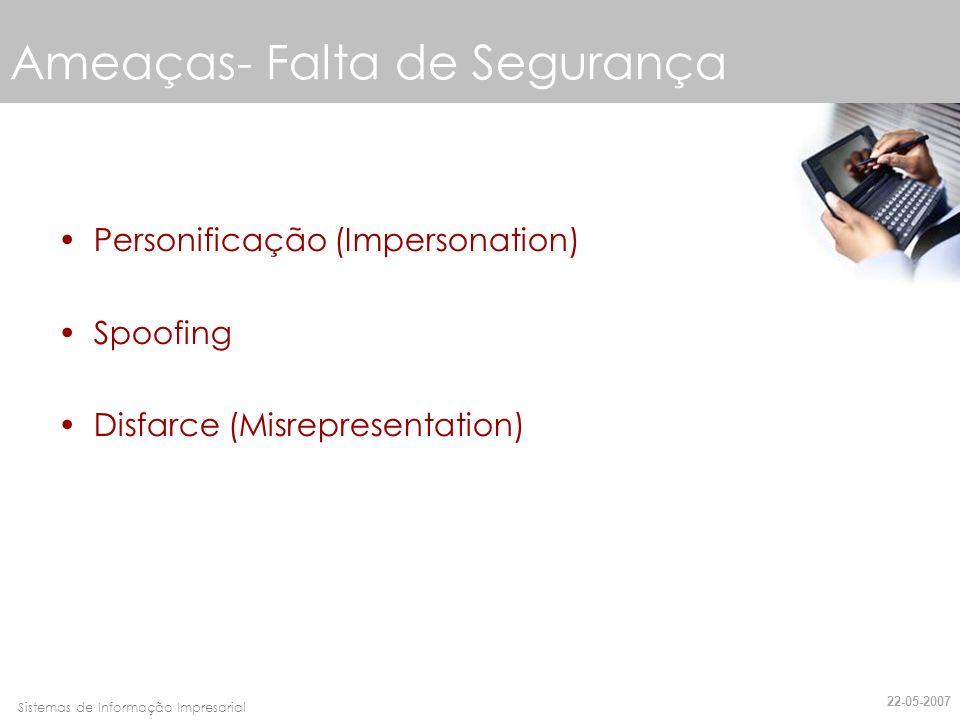 Faro, 10 de Março de 2007Sistemas de Informação Impresarial Ameaças- Falta de Segurança Personificação (Impersonation) Spoofing Disfarce (Misrepresent