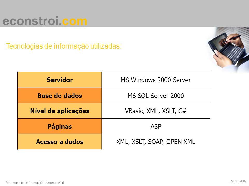Faro, 10 de Março de 2007Sistemas de Informação Impresarial econstroi.com Tecnologias de informação utilizadas: ServidorMS Windows 2000 Server Base de