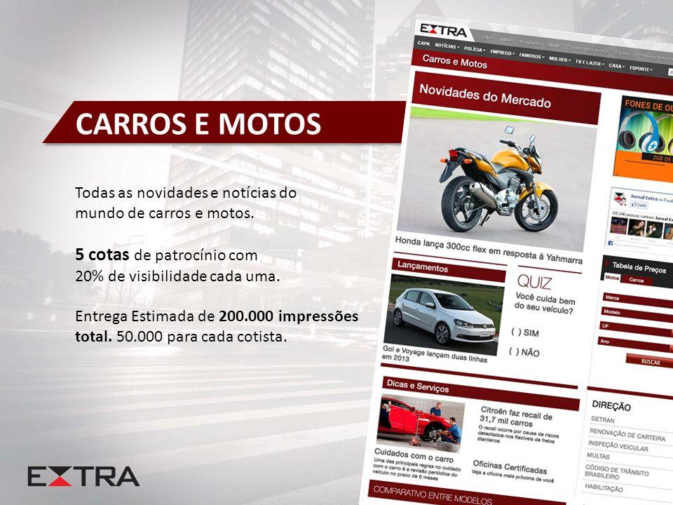 CARROS E MOTOS Todas as novidades e notícias do mundo de carros e motos. 5 cotas de patrocínio com 20% de visibilidade cada uma. Entrega Estimada de 2