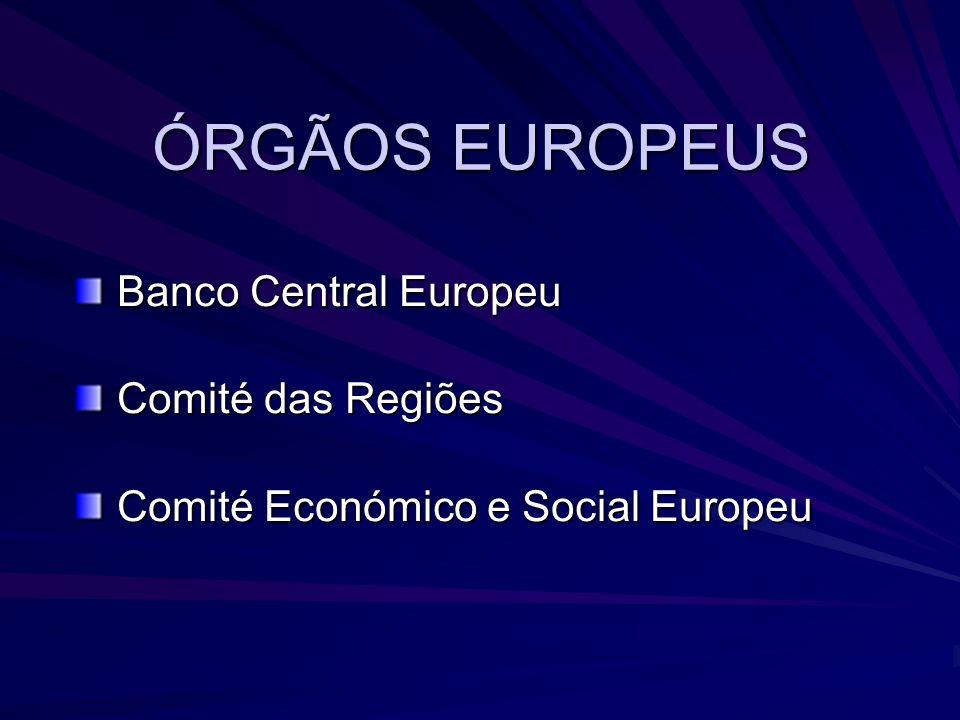 ÓRGÃOS EUROPEUS Banco Central Europeu Banco Central Europeu Comité das Regiões Comité das Regiões Comité Económico e Social Europeu Comité Económico e Social Europeu