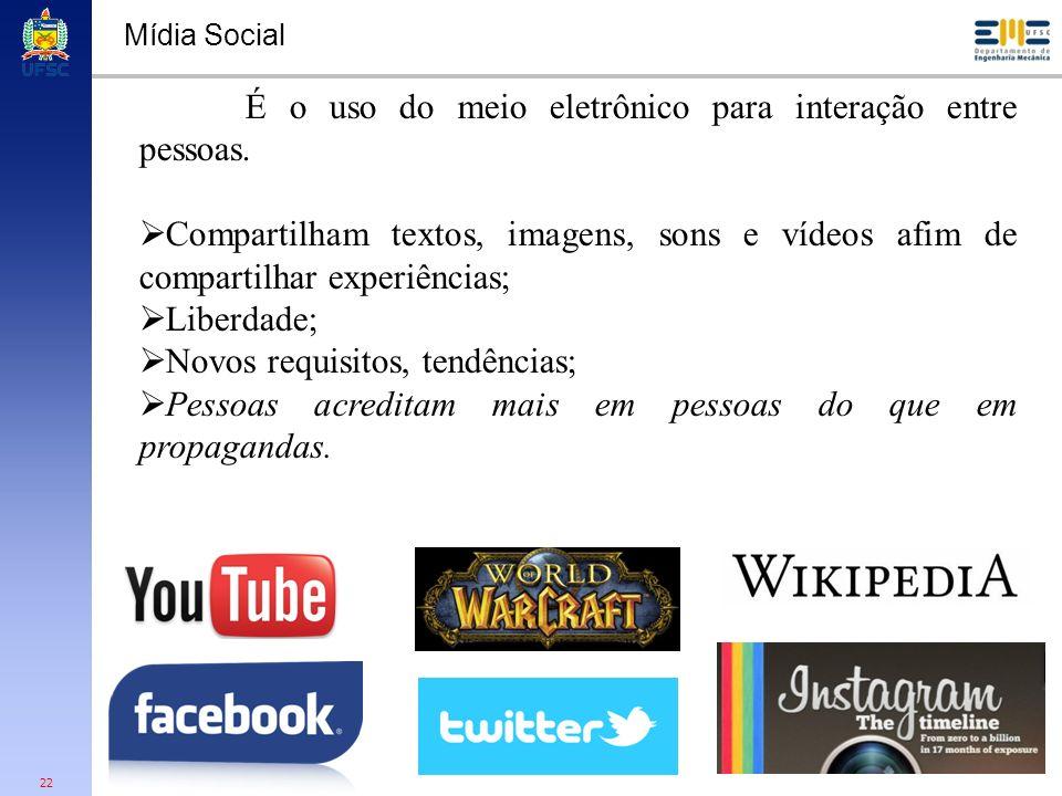 22 Mídia Social É o uso do meio eletrônico para interação entre pessoas. Compartilham textos, imagens, sons e vídeos afim de compartilhar experiências