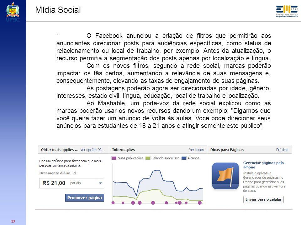 23 Mídia Social O Facebook anunciou a criação de filtros que permitirão aos anunciantes direcionar posts para audiências específicas, como status de r