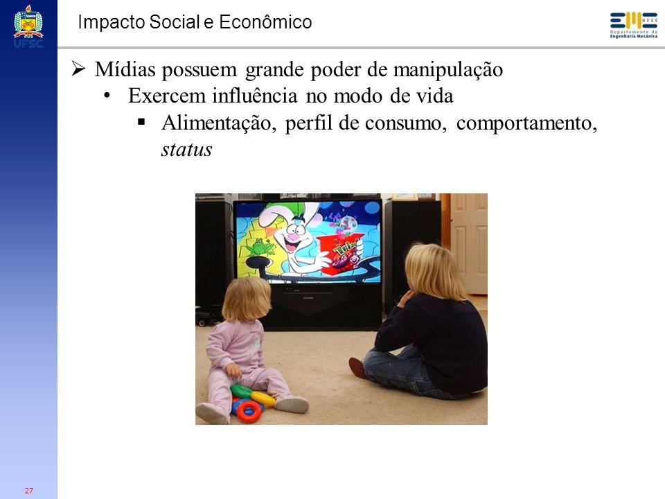 27 Impacto Social e Econômico Mídias possuem grande poder de manipulação Exercem influência no modo de vida Alimentação, perfil de consumo, comportame