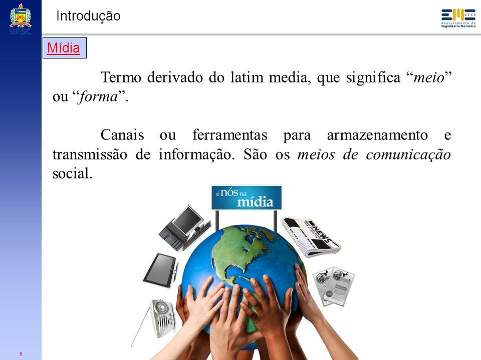 6 Termo derivado do latim media, que significa meio ou forma. Canais ou ferramentas para armazenamento e transmissão de informação. São os meios de co