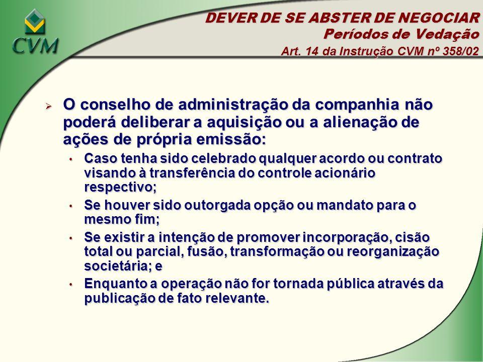 DEVER DE SE ABSTER DE NEGOCIAR Períodos de Vedação Art.