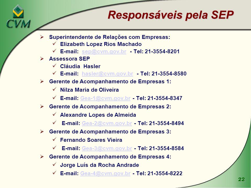 22 Responsáveis pela SEP Superintendente de Relações com Empresas: Elizabeth Lopez Rios Machado E-mail: sep@cvm.gov.br - Tel: 21-3554-8201sep@cvm.gov.br Assessora SEP Cláudia Hasler E-mail: hasler@cvm.gov.br - Tel: 21-3554-8580hasler@cvm.gov.br Gerente de Acompanhamento de Empresas 1: Nilza Maria de Oliveira E-mail: Gea-1@cvm.gov.br - Tel: 21-3554-8347Gea-1@cvm.gov.br Gerente de Acompanhamento de Empresas 2: Alexandre Lopes de Almeida E-mail: Gea-2@cvm.gov.br - Tel: 21-3554-8494Gea-2@cvm.gov.br Gerente de Acompanhamento de Empresas 3: Fernando Soares Vieira E-mail: Gea-3@cvm.gov.br - Tel: 21-3554-8584Gea-3@cvm.gov.br Gerente de Acompanhamento de Empresas 4: Jorge Luís da Rocha Andrade E-mail: Gea-4@cvm.gov.br - Tel: 21-3554-8222Gea-4@cvm.gov.br
