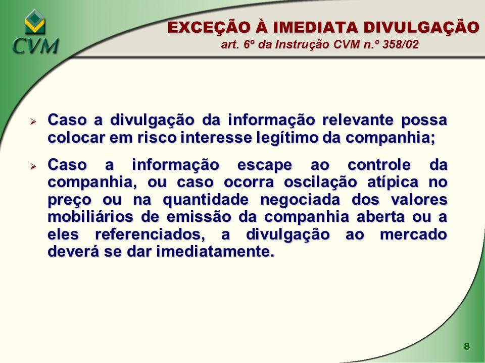 8 EXCEÇÃO À IMEDIATA DIVULGAÇÃO art.
