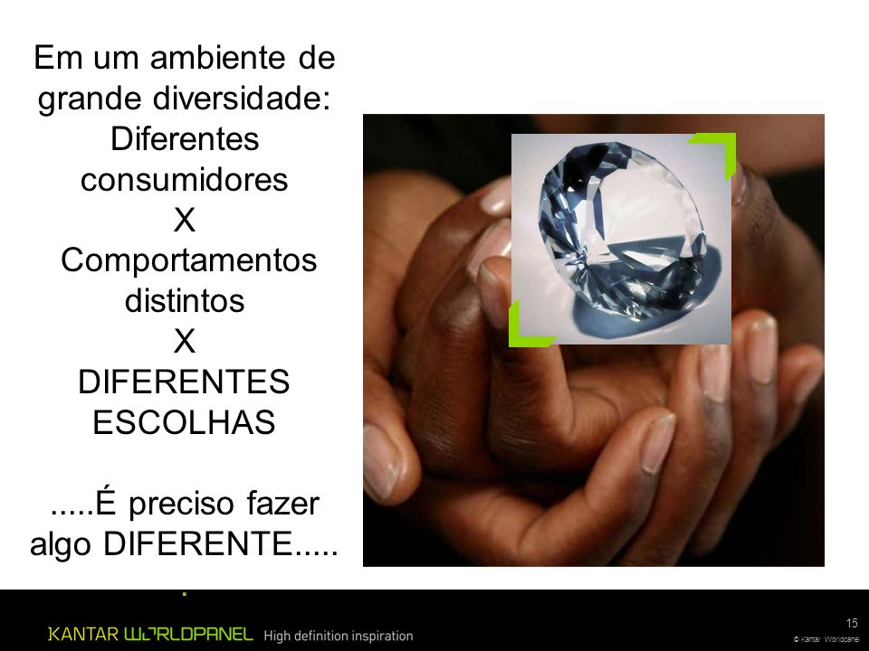 © Kantar Worldpanel 15 © Kantar Worldpanel Em um ambiente de grande diversidade: Diferentes consumidores X Comportamentos distintos X DIFERENTES ESCOLHAS.....É preciso fazer algo DIFERENTE......