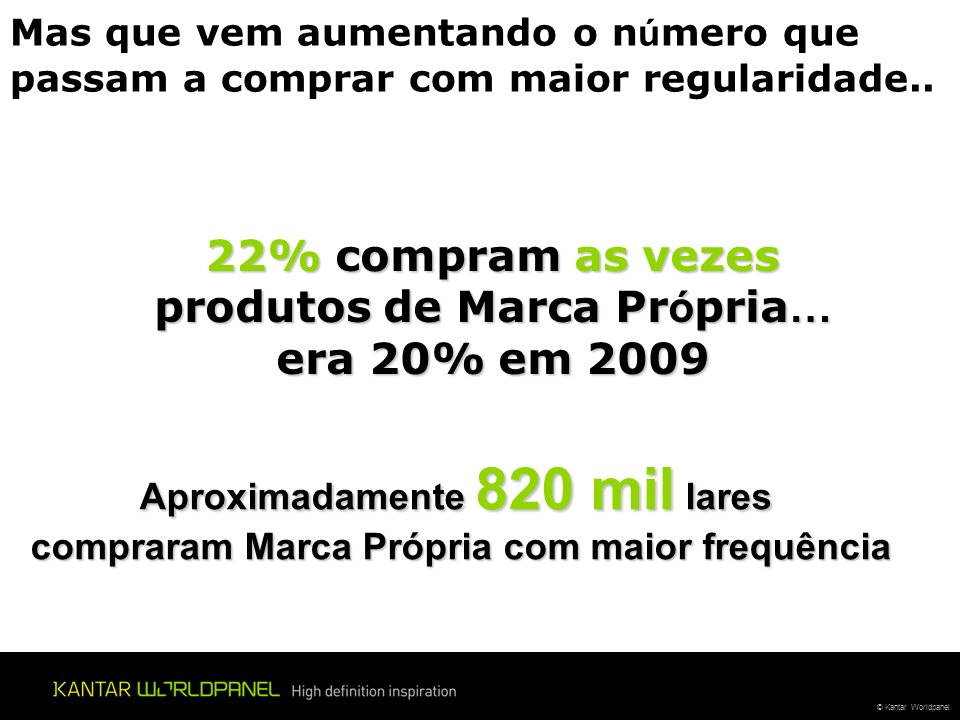 © Kantar Worldpanel 22% compram as vezes produtos de Marca Pr ó pria … era 20% em 2009 Mas que vem aumentando o n ú mero que passam a comprar com maior regularidade..