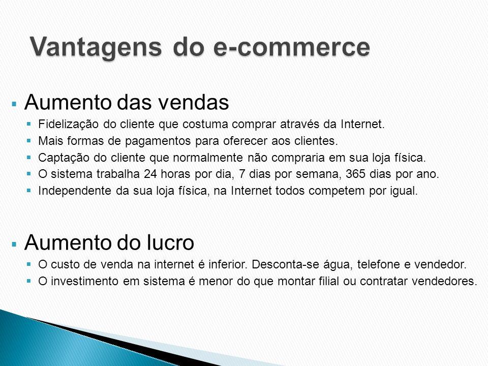 Aumento das vendas Fidelização do cliente que costuma comprar através da Internet. Mais formas de pagamentos para oferecer aos clientes. Captação do c