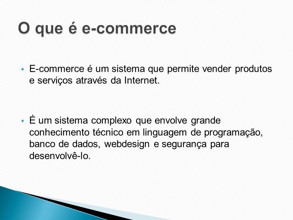 E-commerce é um sistema que permite vender produtos e serviços através da Internet. É um sistema complexo que envolve grande conhecimento técnico em l