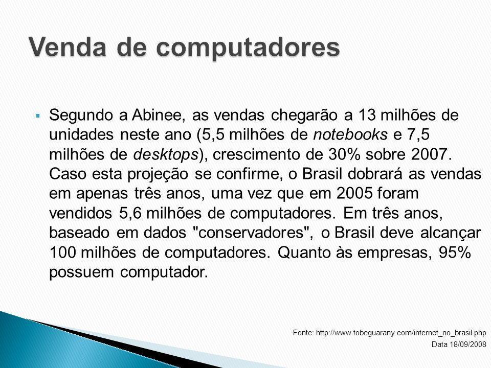Segundo a Abinee, as vendas chegarão a 13 milhões de unidades neste ano (5,5 milhões de notebooks e 7,5 milhões de desktops), crescimento de 30% sobre