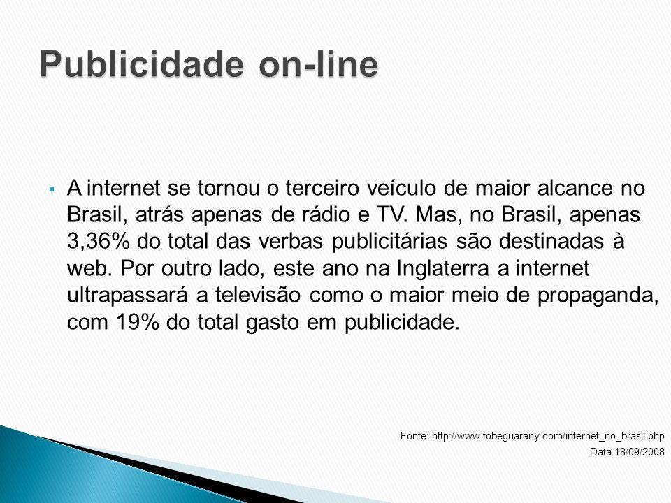 A internet se tornou o terceiro veículo de maior alcance no Brasil, atrás apenas de rádio e TV. Mas, no Brasil, apenas 3,36% do total das verbas publi