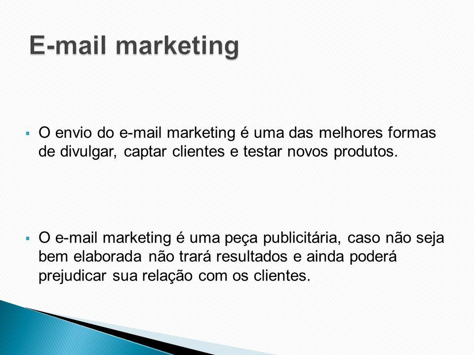 O envio do e-mail marketing é uma das melhores formas de divulgar, captar clientes e testar novos produtos. O e-mail marketing é uma peça publicitária