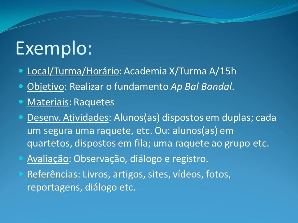Exemplo: Local/Turma/Horário: Academia X/Turma A/15h Objetivo: Realizar o fundamento Ap Bal Bandal. Materiais: Raquetes Desenv. Atividades: Alunos(as)