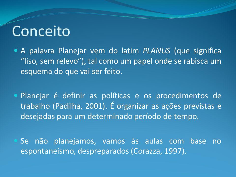 Planejamento x Plano de aula De acordo com Baffi (2002): Planejamento é um processo de previsão de necessidades e racionalização da utilização de recursos disponíveis, visando à concretização de objetivos, em prazos determinados e etapas definidas.