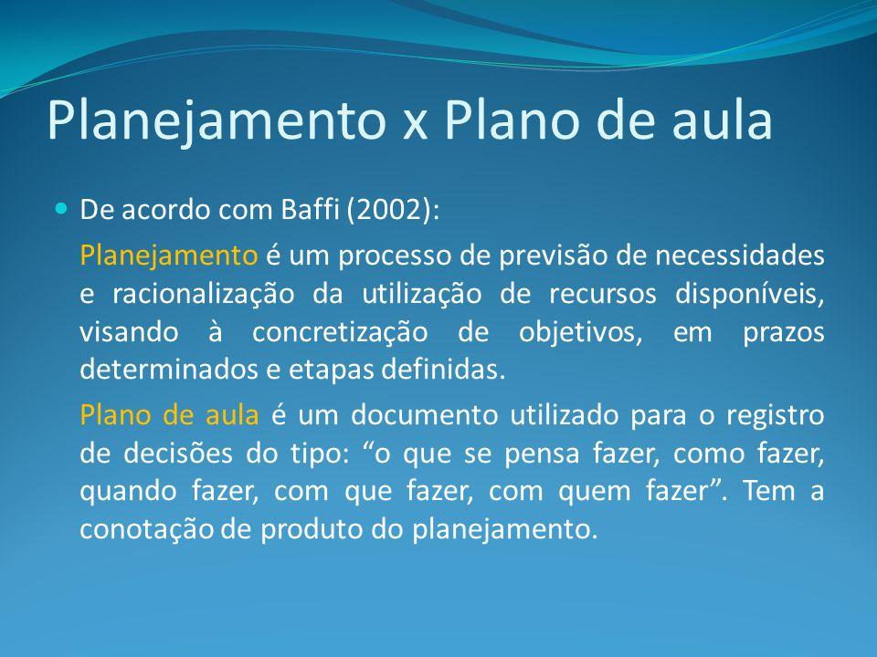 Importância de Planejar É importante pois possibilita: - organizar o conteúdo em partes.