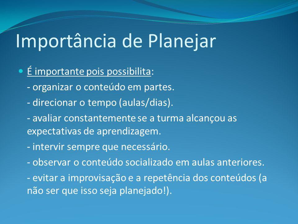 Importância de Planejar É importante pois possibilita: - organizar o conteúdo em partes. - direcionar o tempo (aulas/dias). - avaliar constantemente s