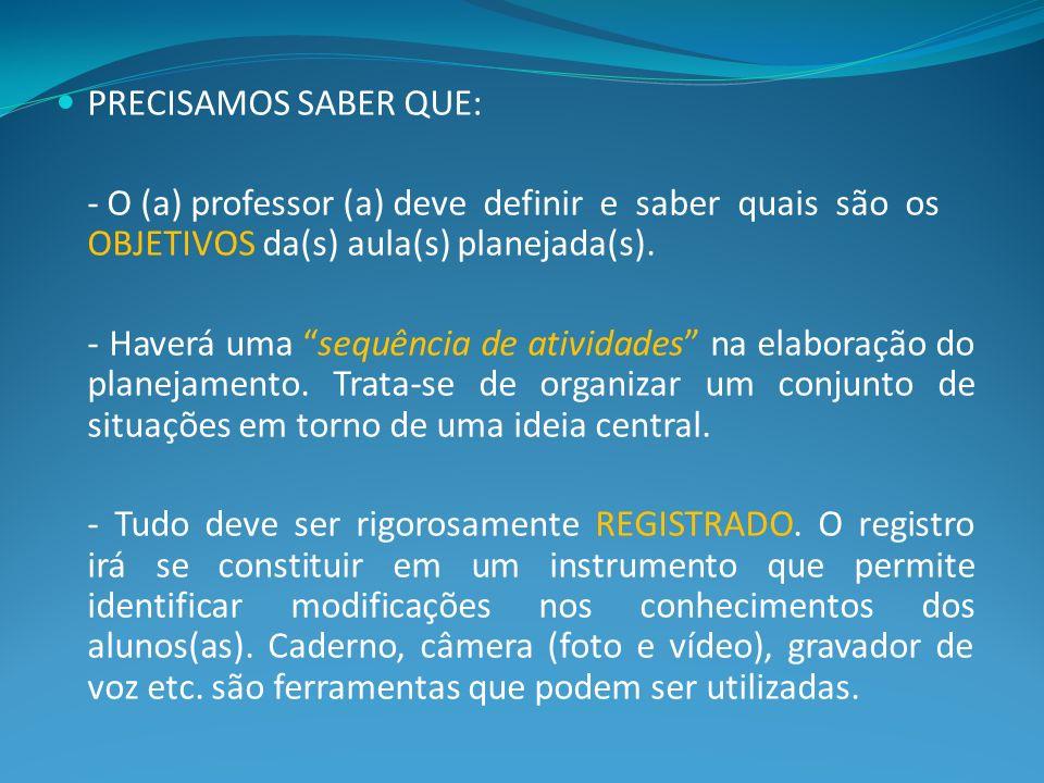 PRECISAMOS SABER QUE: - O (a) professor (a) deve definir e saber quais são os OBJETIVOS da(s) aula(s) planejada(s). - Haverá uma sequência de atividad