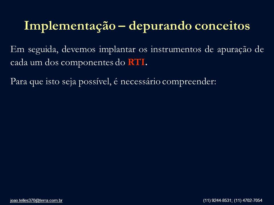 joao.telles370@terra.com.br (11) 9244-8531; (11) 4702-7054 Implementação – depurando conceitos Em seguida, devemos implantar os instrumentos de apuraç
