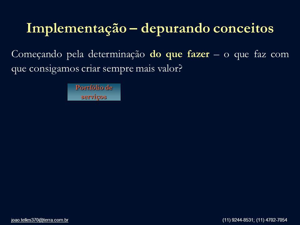 joao.telles370@terra.com.br (11) 9244-8531; (11) 4702-7054 Implementação – depurando conceitos Começando pela determinação do que fazer – o que faz co
