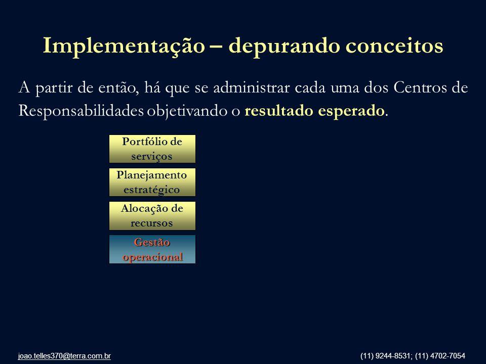 joao.telles370@terra.com.br (11) 9244-8531; (11) 4702-7054 Implementação – depurando conceitos A partir de então, há que se administrar cada uma dos C