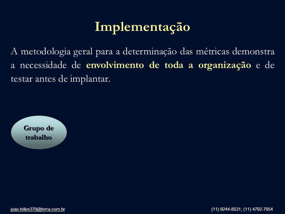 joao.telles370@terra.com.br (11) 9244-8531; (11) 4702-7054 Implementação A metodologia geral para a determinação das métricas demonstra a necessidade