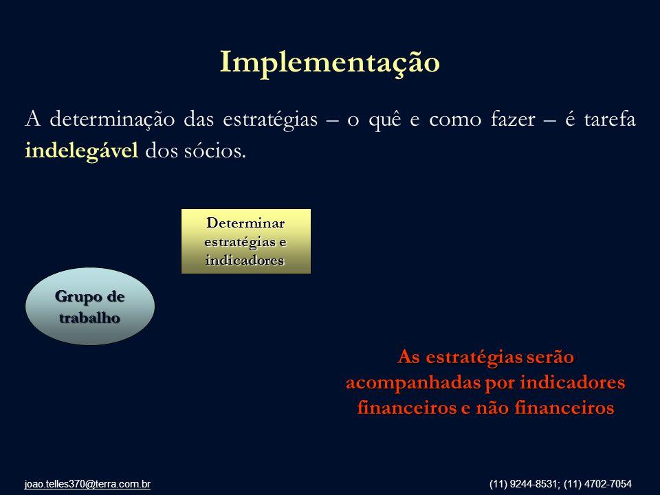 joao.telles370@terra.com.br (11) 9244-8531; (11) 4702-7054 Implementação A determinação das estratégias – o quê e como fazer – é tarefa indelegável do