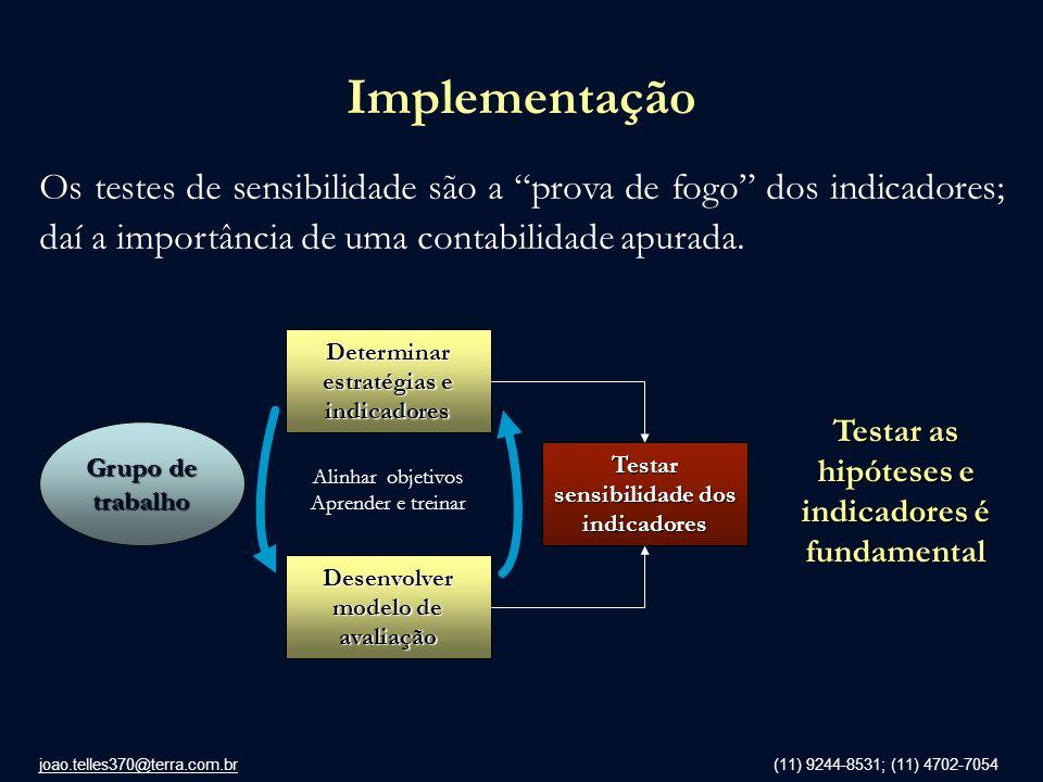 joao.telles370@terra.com.br (11) 9244-8531; (11) 4702-7054 Implementação Os testes de sensibilidade são a prova de fogo dos indicadores; daí a importâ
