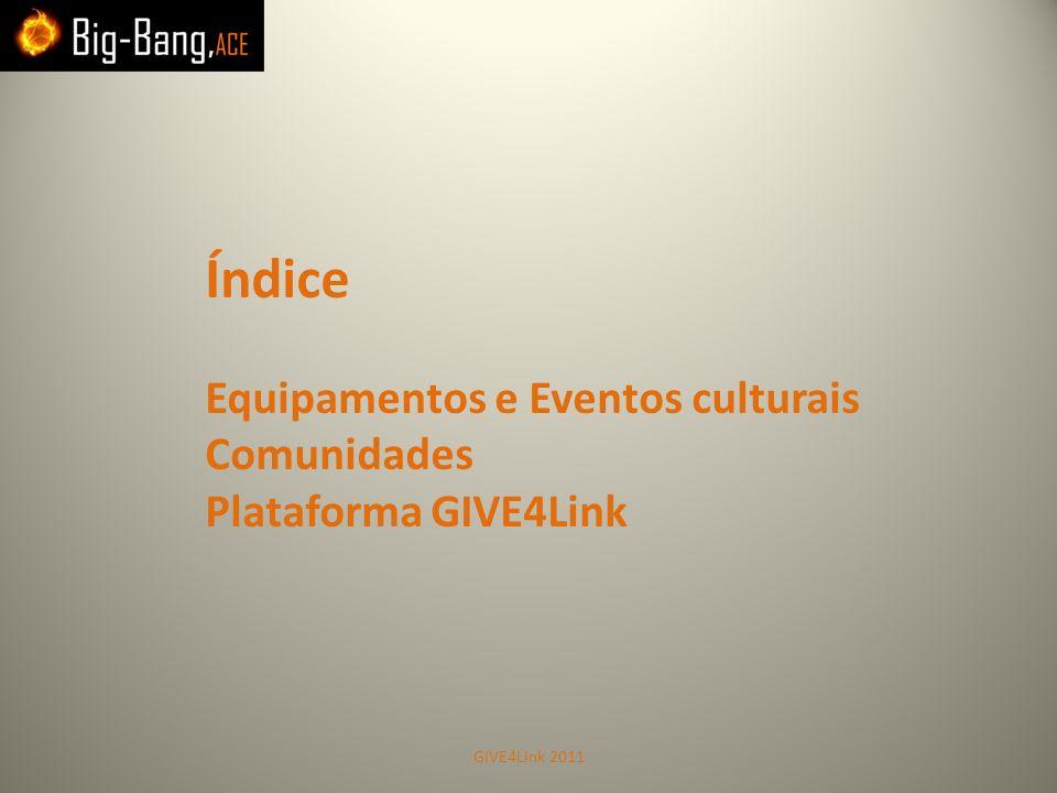 Índice Equipamentos e Eventos culturais Comunidades Plataforma GIVE4Link GIVE4Link 2011