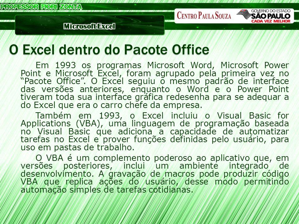 Em 1993 os programas Microsoft Word, Microsoft Power Point e Microsoft Excel, foram agrupado pela primeira vez no Pacote Office. O Excel seguiu o mesm