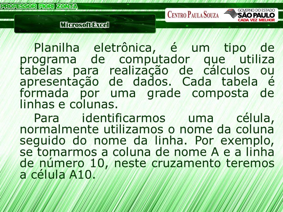 Planilha eletrônica, é um tipo de programa de computador que utiliza tabelas para realização de cálculos ou apresentação de dados. Cada tabela é forma